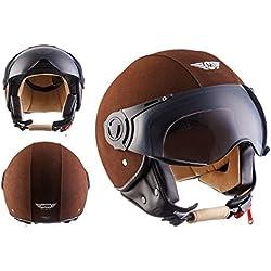 MOTO H44 Leather Brown · Moto motocicleta Casco Demi-Jet Vespa Vintage Bobber Mofa Cruiser Urban Helmet Chopper Piloto Biker Urbano Retro Scooter · ECE certificado · incluyendo parasol · incluyendo bolsa de casco · Marrón · XL (61-62cm)