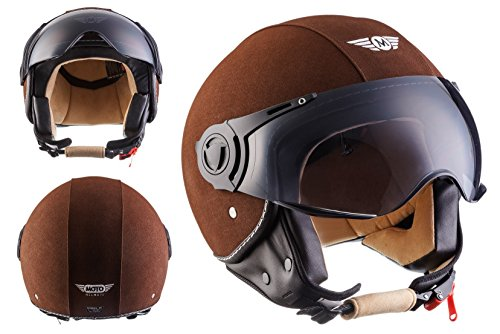 MOTO H44 Leather Brown · Moto Cruiser Retro Mofa Motard Scooter Vintage Piloto Casco Demi-Jet Biker Bobber Vespa Urbano Chopper Urban · ECE certificato · compresi parasole · compresi Sacchetto portacasco · Marrone · M (57-58cm)