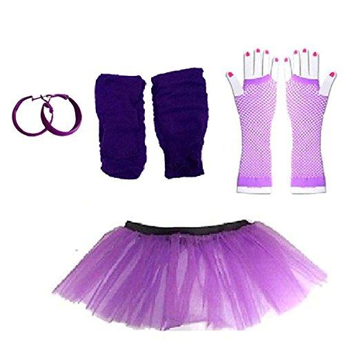Plus Size 16-24 - Neon Tutu Skirt, Fishnet Gloves, Leg warmers & Earrings