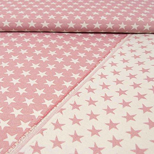 Gobelinstoff Sterne 2-seitig verwendbar rosa Canvasstoff Doubleface - Preis Gilt für 0,5 Meter - -