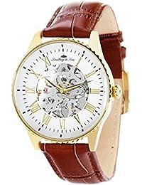 Lindberg & Sons CHP155 - Reloj análogico para hombre de pulsera (esqueleto automático), correa de cuero café/marrón