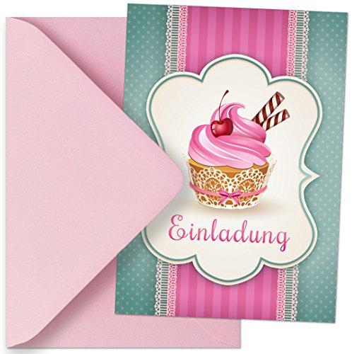Einladungskarten mit Motiv Muffins / Cupcakes. Einladungen passen zum Geburtstag / Kindergeburtstag / Party / Kochparty / Backparty (Mit passenden Umschlägen) - Tee Einladung Eine Zum