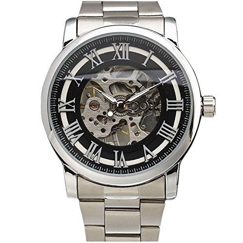 Winner marca hombre esqueleto mano viento mecánico militar moda casual relojes banda de acero inoxidable