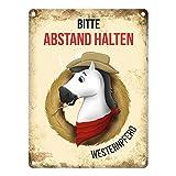 trendaffe - Metallschild mit wei�es Pferd Motiv und Spruch: Bitte Abstand halten - Westernpferd