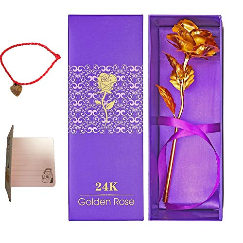 9a8f9278e901c OrchidBest 24K Gold Foil Rose, Full Blossom Flower with Gift-box for Loved  One, Ideal Gift for Valentine, Mothers' Day, Birthday, Anniversary, ...