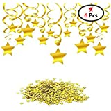 Party Propz Golden Star Swirls Baby Shower Decorations (Pack Of 6)
