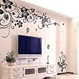 Decorie Creative Flowers and Vine Design Wall Sticker for Room Home Decor 50*70CM