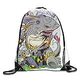 Drempad Tunnelzug Rucksäcke, Funny Shark Mad Hungry Drawstring Bag Stylish Cute Print Lightweight Sackpack Sport Gym Bundle Backpack Theme Novelty Outdoor...