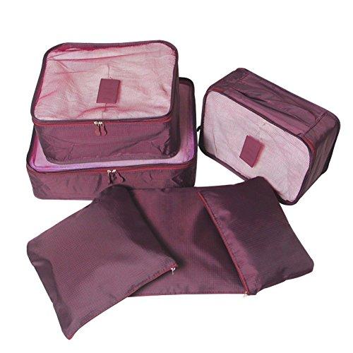Set di 6 Organizzatori di Viaggio Bagagli Fochea Sistema di Cubo di Viaggio - 3 Cubi di Imballaggio + 3 Sacchetti - Beauty Case Organizzatore Perfect per Viaggio Bagagli (Bordeaux)