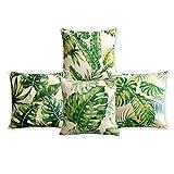 Summer Time Tropical Plant Pillowcase Fresh Green Leaves Cushion Decorative Pillow Home Décor Sofa Throw Pillow Cover Set of 4 18*18inches