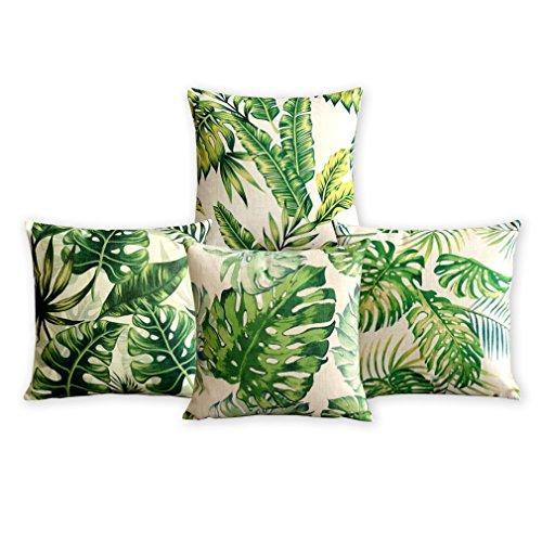Sommerzeit Tropical Plant Kissenbezug Fresh Green Blätter Kissen Dekorative Kissen Home Décor Sofa Throw Pillow Cover Set von 4 18 * 18inches (Dekorative Kissenbezug Pillow Throw)
