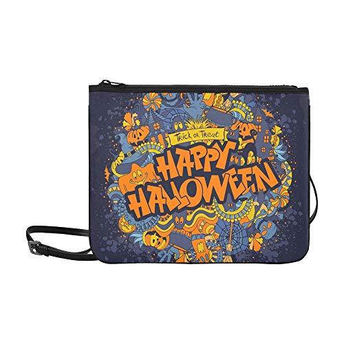 WYYWCY Happy Halloween Retro Stil Doodle Kreative Benutzerdefinierte hochwertige Nylon Schlanke Clutch Crossbody Tasche Umhängetasche