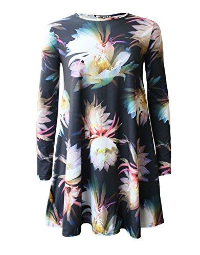66 Fashion District Damen Skater Kleid Gr. 38/40, Fairy Floral Black