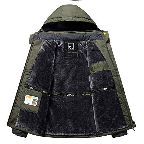 R RUNVEL Men's Waterproof Mountain Jacket Windproof Outdoor Multi-Pockets Winter Coats Warm Rain Ski Jackets Camping Hiking Coat Hood Olive XXL