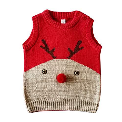 Navidad Chaleco Punto Recién Nacido Ropa Abrigo Sin
