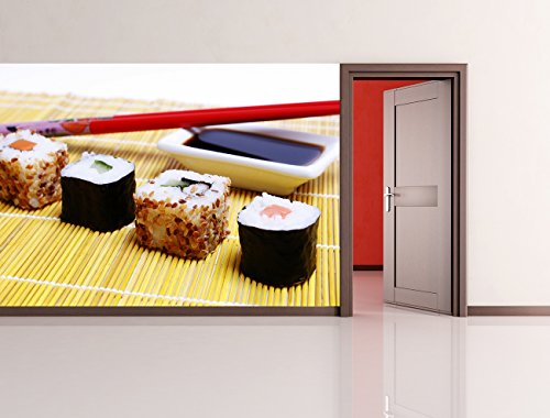 """Bilderdepot24 Fotomurale autoadesivo """"Sushi con le bacchette e salsa di soia"""" 230x150 cm - prodotto in germania! carta da parati"""