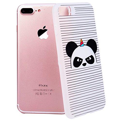 WE LOVE CASE iPhone 7 Plus / 8 Plus Cover 3D Macchia Sollievo Mappa iPhone 7 Plus / 8 Plus 5,5 Custodia Colore Case Silicone Soft Flessibile Elegant Belle Protettiva , Antiurto Ultraslim Bumper , TPU panda