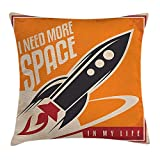 Vintage Decor Throw Pillow Cushion Cover by, Space and Real Life with Rocket Taking Flight Planet Cosmos Past Time Slogan Theme, Decorative Square Accent Pillow Case, 18 X 18 Inches, Multi 45cm