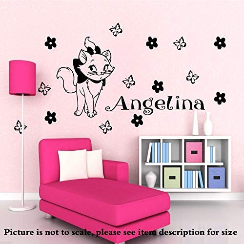 Disney Marie die Katze Vinyl Wand Aufkleber personalisiert Name Entfernbare Aufkleber Aristocats Home Kunst