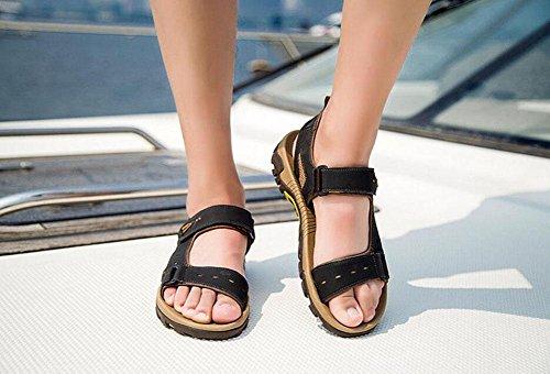 GLTER Open Toe Herren Strand Sandalen Herren Leder Slingback Sandalen Sommer Breathable Casual Beach Schuhe Outdoor wasserdichte Turnschuhe Black