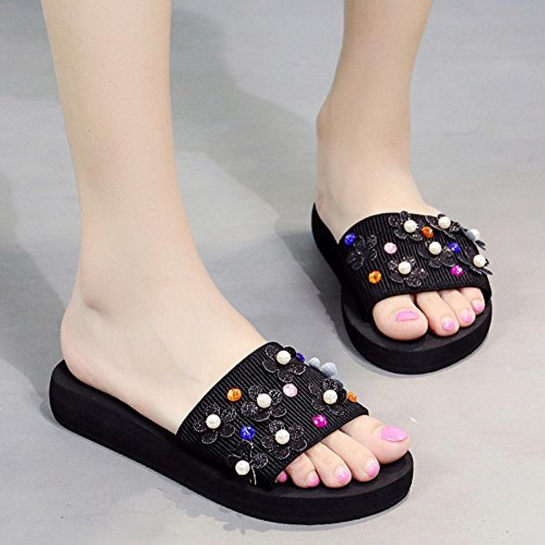 FEIFEI Las sandalias de las mujeres del verano, las lentejuelas de Bohemia florece las zapatillas inferiores planas...