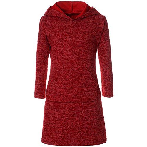 Rote Armee Mädchen (BEZLIT Mädchen Pullover Kleid Long Tunika Langarm Kapuze 21579, Farbe:Rot, Größe:128)