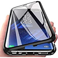CoqueCase Funda para Samsung S10 Lite, Adsorción Magnética 360 Grados Protección Carcasa Samsung A91 Transparente Ambos Lados Vidrio Templado Anti Choque Case Negro