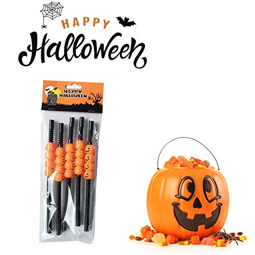 5Pcs Halloween Kunststoff Trinkhalme, Halloween Party Supplies BPA frei Strohhalme mit 3D Kürbis Jack-O-Laterne Design, 9 Zoll Getränke Scary Fun Trick or Treat Neuheit Party Favors Strohhalme