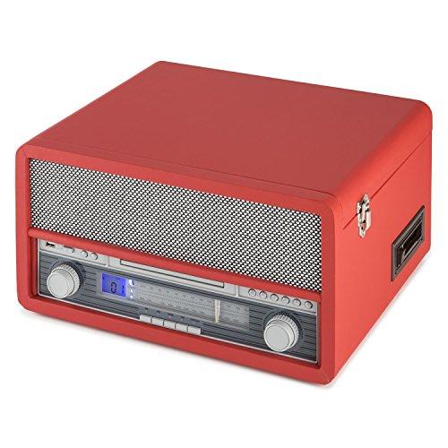 auna Belle Epoque 1907 tocadiscos minicadena retro con Bluetooth (USB, radio FM/AM, reproductor MP3, CD, casete y vinilo, AUX) - rojo