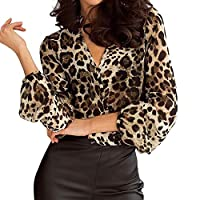 NEEDRA Womens Long Sleeve Leopard Print Casual Pullover Tops Loose Blouse Shirt
