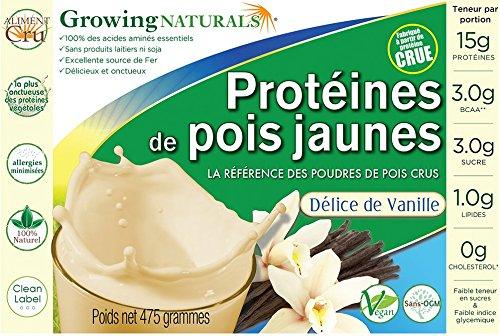 Protéines de pois jaunes crus saveur vanille