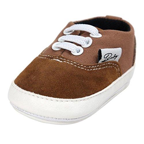 Hunpta Baby Mädchen Jungen Canvas Schuh Freizeitschuhe Sneaker rutschfest weiche Sohle Kleinkind (Alter: 12 ~ 18 Monate, Kaffee)