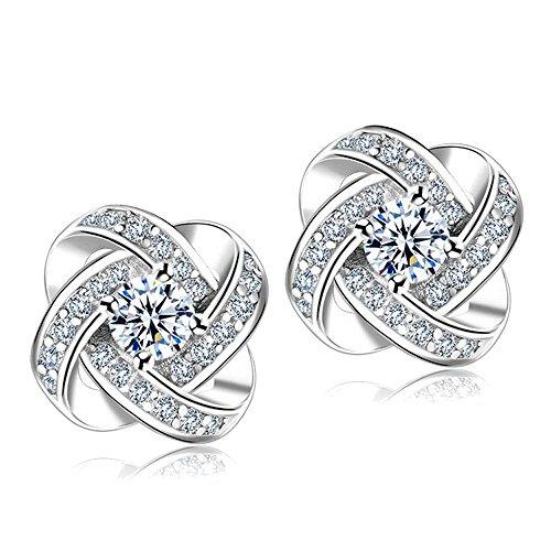 LABIUO Einfache Art Und Weise Diamant Sphärische Ewige Sternkleine Ohrstecker(Silber,Freie Größe)