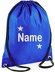 EMBROIDERED Personalised STAR Drawstring GYM Bag Any Name Gym School Nursery