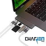 CharJenPro Usb-C Hub Macstick Adapter / Hub Für Apple Macbook Pro 2016 Und 2017 - 40Gb / S Thunderbolt 3 5K @ 60Hz, Usb-C Datenanschluss, 2 Usb 3.0, Sd / Micro Sd Kartenleser (Space Grau)