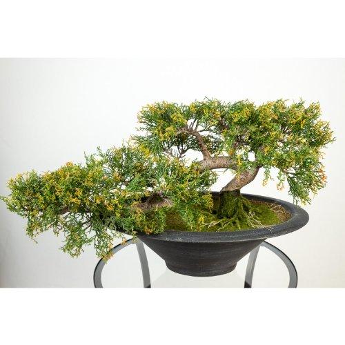artplants Künstlicher Bonsai Zeder in Schale, 156 Spitzen, 40 cm, wetterfest - hochwertiger Kunstbonsai Deko Bonsai