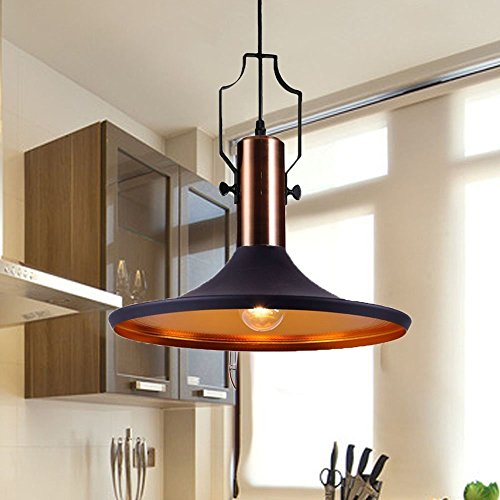 FOSHAN MINGZE Industrial Pendant Light E27 Edison Outer Black Inner Gold Chandelier Ceiling Shade For Kitchen Dining Room Living Restaurant