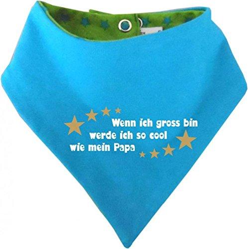 KLEINER FRATZ Foulard réversible pour bébé et enfant avec étoiles - Si j'ai gross bin werde ich aussi cool que Papa/in 4 designs/tailles 0-36 mois - Vert - 74