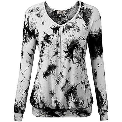 DJT-Camiseta Top para Mujer de Punto con Escote Pico