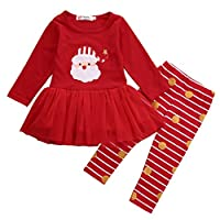 Newborn Kids Baby Girls Christmas Clothes Tutu Dress Skirt Tops+ Stripe Pants Outfit Set (Red, 2-3 Years)