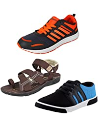 Super Men Combo Pack Of 3 Sports Shoes With Casual Shoe & Sandal