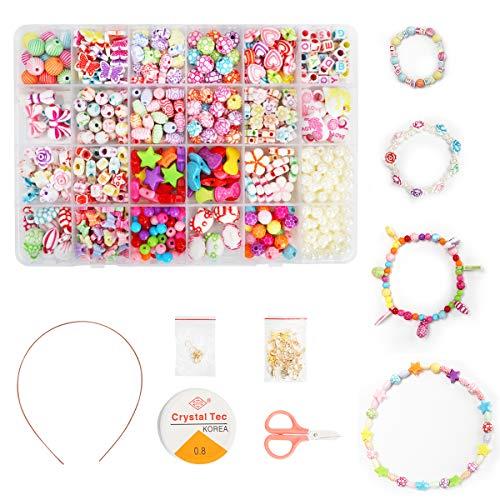 Ucradle Children DIY Bead Set, 550pcs Pony Alphabet Pop Beads for Making Necklace Bracelet Ring, Art Craft & Jewellery Making Kit for Kids Girls Age 4 5 6 7 8, 24 Types