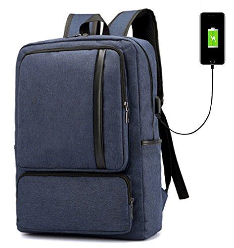 Super Modern Unisex Schule Nylon Rucksack mit USB-Ladegerät Port Laptop Tasche für Teen Mädchen und Jungen Cool Business Rucksack Work Bag Größe L blau (Nylon Nike Rucksack)