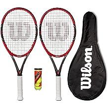 2 x Wilson Federer Pro 105 Carbon racchette da tennis + Balls