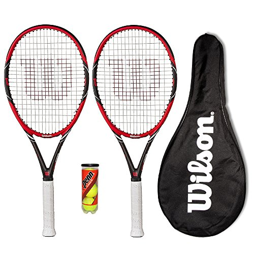 Preisvergleich Produktbild 2 x Wilson Federer Pro 105 Carbon Tennisschläger + Bälle