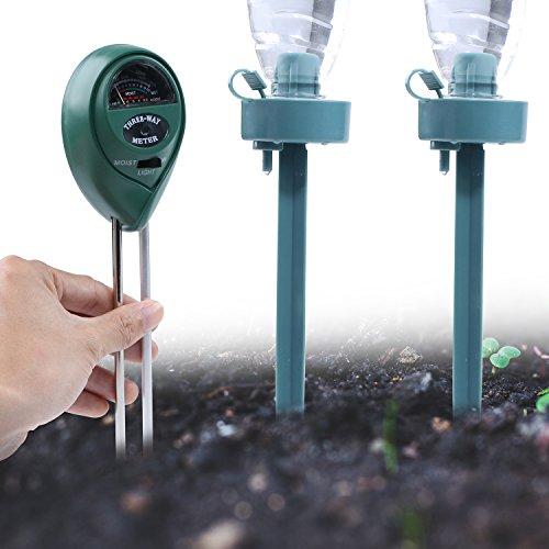 3 in 1 Bodentester Feuchtigkeit Meter, Licht und pH Säure Tester mit 2 automatische einstellbarer Durchflussmenge Drip Bewässerung Spikes für Garten, Bauernhof, Rasen, Indoor & Outdoor