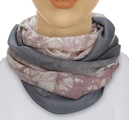 XXL TOP TREND Damen Schal leichter Schlauchschal Viele Farben (M1 Rosa/Grau) (Halstuch Damen)