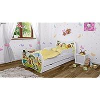 Preisvergleich für Kinderbett Weiss mit Matratze Bettkasten und Lattenrost - verschiedene Motive DM (Safari, 160x80)