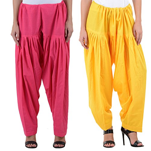 Numbrave Women's Pink-Yellow Cotton Full Patiala Salwar (Combo of 2)