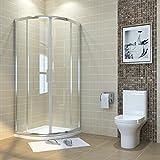 sunnyshowers Duschkabine viertelkreis 90x90cm Runddusche Duschabtrennung Schiebetür Viertelkreisdusche für Badezimmer